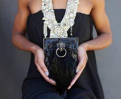 Black Beaded Clutch, Chic Lion Purse, evening handbag, Hollywood statement accessory, Vintage brass Lion head.