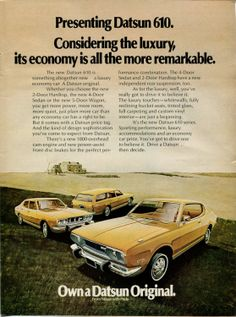 Amazon.com: 1973 Datsun 610 Car Auto Yellow Vintage Retro Original Ad: Everything Else