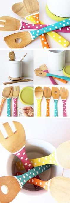 DIY: Color your Kitchen Utensils I love this! DIY: Color your Kitchen Utensils Wooden Spoon Crafts, Wood Spoon, Wood Crafts, Diy Kitchen, Kitchen Decor, Kitchen Ideas, Painted Spoons, Silicone Kitchen Utensils, Plastic Spoons