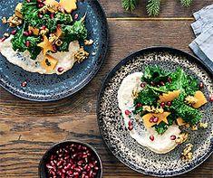 Federkohl-Süsskartoffel-Salat an Champignoncrème Tofu, Chili, Acai Bowl, Creme, Food And Drink, Breakfast, Healthy, Ethnic Recipes, Mad