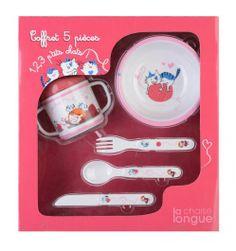 Coffret repas enfant - Petit chat  http://www.deco-et-saveurs.com/assiette-couleur/3676-coffret-5-pieces-melanine-petits-chats-3660173171487.html