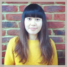 Ladies Haircut with long disconnected layers A strong fringe contrasting a textured baseline.  Colour blend through the ends.
