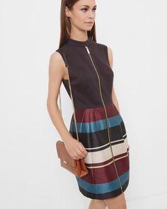 Antique Stripe zip front dress - Black | Dresses | Ted Baker
