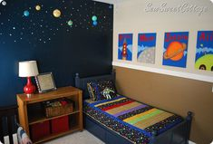 outer space room. I like the one dark wall then lighter walls on the rest of the room