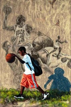 """In His Shadow: Michael Jordan"" by Richard Wilson African American Artist, African Art, American Artists, Basketball Drawings, Basketball Art, Black Love Art, Black Girl Art, Wilson Art, Black Art Pictures"