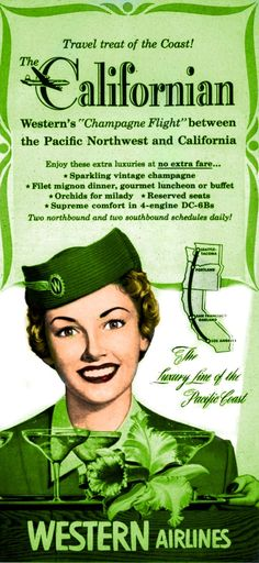 Green - Western Airlines, 1954 -  http://1950sunlimited.tumblr.com/post/18822196436