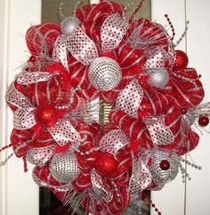 Red and Silver Deco Mesh Christmas Wreath Wreath Crafts, Diy Wreath, Ornament Wreath, Ornaments, Wreath Ideas, Tulle Wreath, Burlap Wreaths, All Things Christmas, Christmas Holidays
