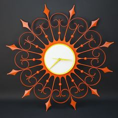Vintage Mid Century Resto Mod MCM Starburst Atomic Clock Orange White Yellow | eBay