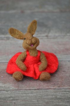 Bunny Needle felted Rabbit wool needle felted by BearCreekDesign
