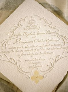 I love the pressed flowers! letterpress wedding invitation by tiny pine press