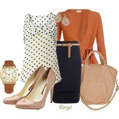 SUMMER/FALL: Nude Heel, Nude/Brown Tote, Nude/brown Belt, Nude/brown watch, Navy Pencil Skirt, polka dot Shirt, and orange sweater
