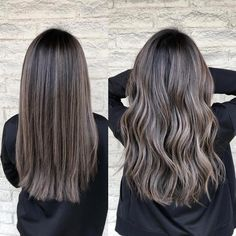 Ash brunette 🆒 Cut and color by ShadesEQ balayageombre l. Brown Hair Shades, Brown Ombre Hair, Brown Blonde Hair, Light Brown Hair, Brown Hair Colors, Ashy Hair, Cool Tone Brown Hair, Ash Brunette, Brunette Color