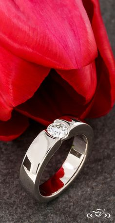 Flush Set Diamond Engagement Ring. Green Lake Jewelry 104746