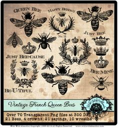 Weinlese-Königin Bienen Collage Blatt Jahrgang Französisch