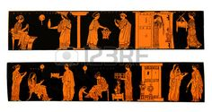 Ancient Greek vases depicting life and lifestyle of Greek women at home isolated on white Stock Photo
