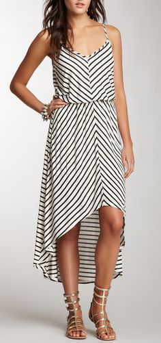 Hi-Lo Miter Striped Maxi Dress -- love the sandals Love Fashion, Womens Fashion, Striped Maxi Dresses, Casual Chic Style, Dress Me Up, Spring Summer Fashion, Dress To Impress, Gladiator Sandals, Gladiators