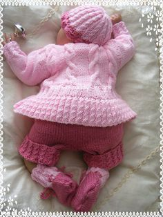 Gracie Knitting Pattern now on my website Baby Cardigan Knitting Pattern, Baby Knitting Patterns, Baby Patterns, Doll Patterns, Crochet For Kids, Crochet Baby, Knit Crochet, Designer Knitting Patterns, Baby Coat