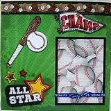 All Star Baseball ONE 12X12 Premade Scrapbook Page