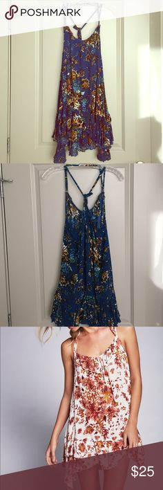 Free people blossom slip dress Bohemian blue and floral print slip dress, ruffle bottom, short and flowy, only worn ONCE! Free People Dresses Mini