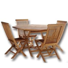 TEAK Outdoor Dining Chairs/Table Sets and Patio Furniture Octagon Table Set by Individual Patio. $779.00. Solid Teak. 48w x 48d x 29h. 5 pc. Set. Teak Oiled Finish. 1-7/8 inch Umbrella Hole Includes Brass Grommet and Cap. This patio set is constructed of solid Teak using mortise and tennon joinery. The table is offered in a 48 inch round or octagon shape and has 1-7/8 inch umbrella hole with lower pole stabilizer to accept our Teak Market Umbrella.