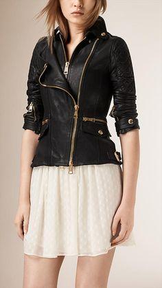 Black Diamond Quilt Detail Leather Biker Jacket - Image 1