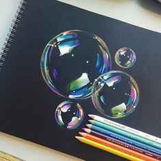 """@artdiscovered's photo: """"Bubbles drawing by @mannneylucero"""" Pencil Drawing Tutorials, Pencil Drawings, Black Paper, Colored Pencils, Bubbles, Sketches, Artwork, Painting, Instagram"""