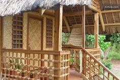 house made of bamboo design Village House Design, Bungalow House Design, Bahay Kubo Design Philippines, Filipino House, Bamboo House Design, Hut House, Philippine Houses, House Design Pictures, Bamboo Construction