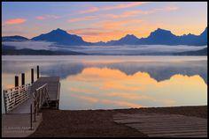 Sunrise from the boat ramp at Lake McDonald in Glacier National Park by David Marx, via Flickr