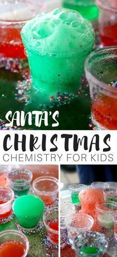 Glitter everywhere with easy holiday science. Try our festive santa eruptions with a classic baking soda science activity. This no fuss Christmas science experiment is perfect for busy days. Join us for our 25 Days of Christmas STEM Countdown and countdow Kindergarten Science Experiments, Cool Science Experiments, Preschool Science, Preschool Ideas, Chemistry For Kids, Science For Kids, Life Science, Mad Science, Christmas Activities For Kids