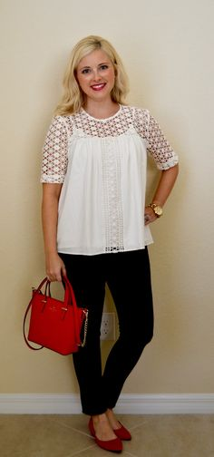 Her Dailey Style: work outfit: lace top + black pants