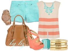 """mint and coral, perfect summer, by liz..."" by anabelenalons on Polyvore"