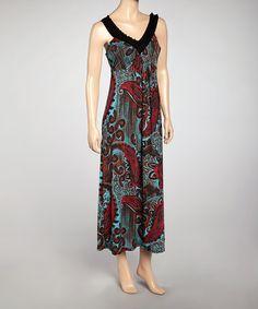 1a8e737ad634 Red Paisley V-Neck Maxi Dress - Women