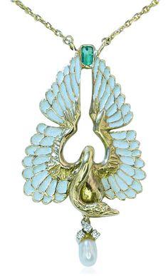 Jewels Necklace, Collier,with Swan and Emerald  Schwanencollier aus Gold mit Email, Schmuck für Ostern
