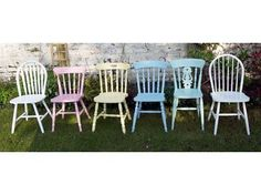 Please note the picture is for illustrative purposes only. Please contact me before buying to choose colours finish and chair styles x Shabby chic mismatch vintage dining chairs set Made to order by Emily Rose Vintage Chairs are each and i can do . Shabby Chic Dining Chairs, Cottage Dining Rooms, Mismatched Dining Chairs, Vintage Dining Chairs, Dinning Room Tables, Dining Chair Set, Shabby Chic Furniture, Diner Table, Diys