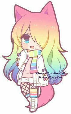 anime chibi kawaii cute rainbow drawings wolf deviantart cat drawing friends pumpkin morning neko manga dibujos animal puff posts hope
