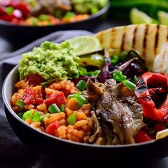 New on The Stingy Vegan: Grilled veggies over Spanish rice with a dollop of guacamole. This vegan fajita bowl is to die for!!! Link to recipe in profile. #vegetarian #vegan #foodstagram #govegan #mexicanfood #whatveganseat #fajitas #zucchininoodles #instafood #foodies #veganfoodshare #veganfood #oilfree #vegandiet #foodpics #healthyeating #food52 #vegansofig #plantbased #asparagus #feedfeed #whatveganseat #whatfatveganseat #veganrecipes #recipes