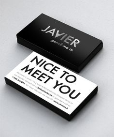 "I like the ""nice to meet you"" option to give out...Simple Black and White Card"