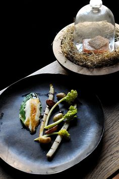 Baked Trout, Hay Baked Jersey Royals, Grilled White Asparagus | Tom Aikens