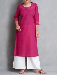Fuschia Kantha Embroidered Cotton Kurta by Jaipur Pitara