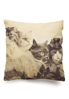 Meow-nt Rushmore Pillow - Multi, Cats, Better, Print with Animals, Quirky