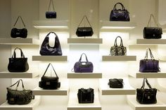 Boutique wall handbag display