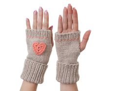 Hand Knitted Fingerless Gloves in a by LittleKnittedThing on Etsy