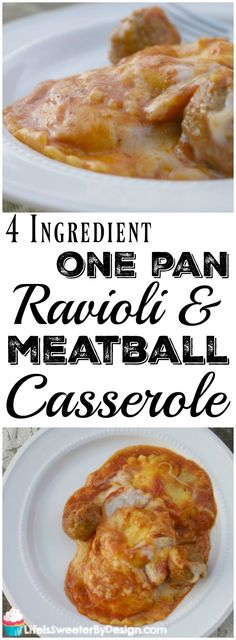 4 Ingredient Ravioli and Meatball Casserole is great for busy nights! A ONE POT meal with no prep work needed. Frozen ravioli and frozen meatballs make this a simple dinner recipe! Frozen Ravioli Bake, Frozen Ravioli Recipes, Frozen Meatball Recipes, Baked Ravioli Casserole, Meatball Casserole, Beef Ravioli Recipe, Beef Recipes, Cooking Recipes, Goulash Recipes