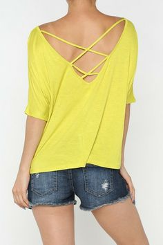"Yellow Tee with ""V"" Back"