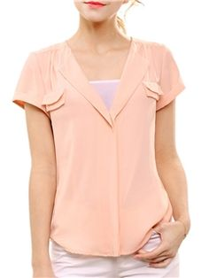 Ericdress Solid Color V-Neck Slim Casual Blouse