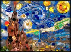 Starry Night.  Completed group project by students grades 1st-2nd in the Very Special Arts Program Jan 2012.