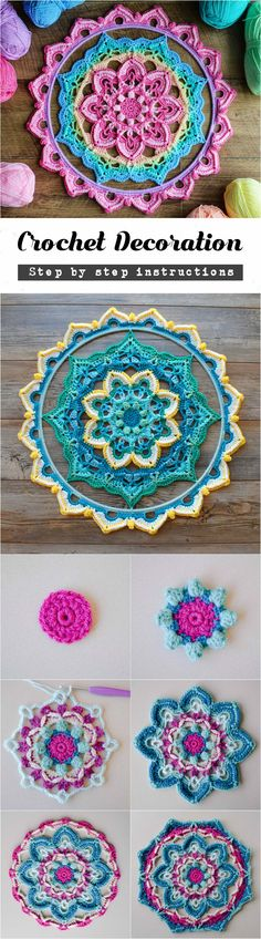 Crochet Wall Decoration       Another pretty Crocheted creation for our readers and crafters. Look at the pictures and if you like this wall hanging decoration we have free step by step explained instructions for you how to crochet by The Loopy Stitch. You can decorate with this pretty thing...