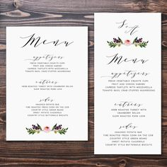 Free Wedding Menu Card Template Unique as You Prepare to Invite Guests to Your Wedding Consider Sending Out Menu Cards too This New Menu Card Template, Card Templates Printable, Wedding Menu Template, Wedding Menu Cards, Wedding Stationary, Wedding Invitations, Templates Free, Invitation Templates, Printable Designs