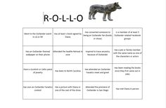 Sample: R-O-L-L-O Card- Idea is to get to know the clan by going around to each person to see if they have done any of the things in the boxes. If so, they sign that box and you move on to the next person. Once all boxes are signed (only one signature per person) then you play a game of Bingo & a black out game