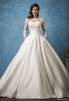 amelia sposa 2017 bridal long sleeves illusion jewel semi sweetheart neckline heavily embellished bodice princess romantic ball gown a  line wedding dress pockets royal train (elena) mv